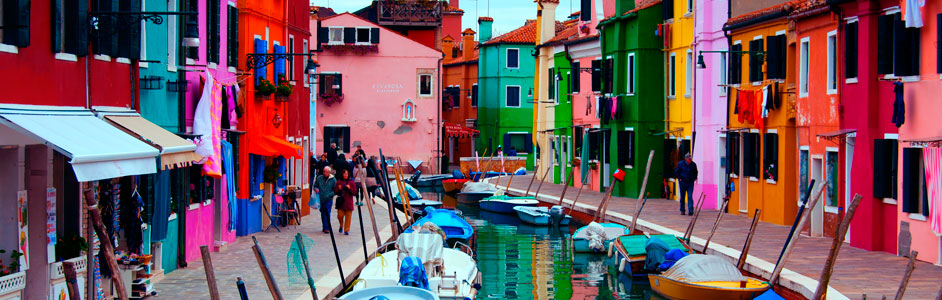 VENICE TOURISM. The airport is mainly used by European tourists, that visits Venice or other islands like Burano (photo).